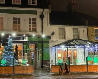 Front of Pub with christmas Lights