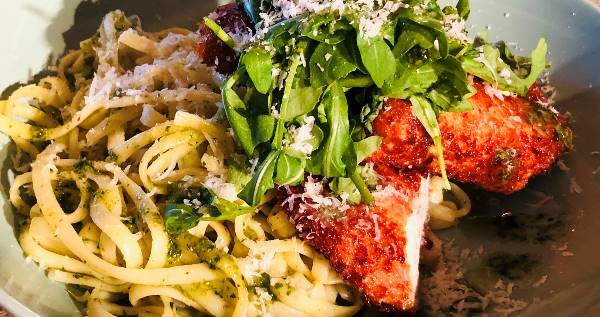 Parmesan Chicken with Pesto Linguine
